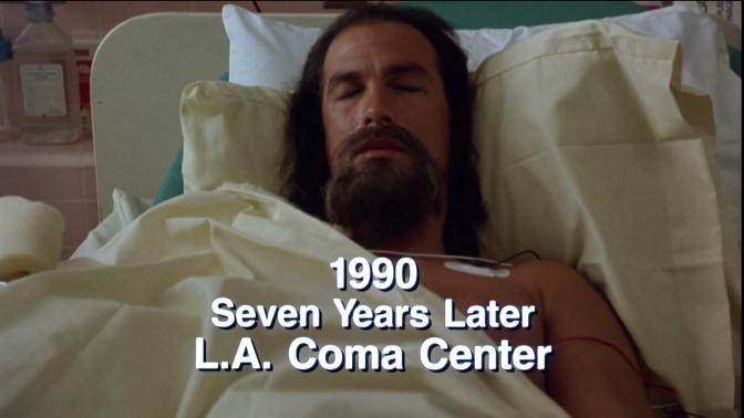 Steven Seagal (Mason Storm) in a coma in the movie Hard to Kill