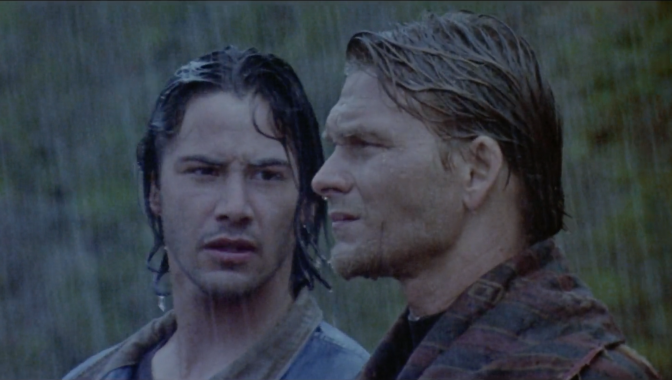 Johnny Utah (Keanu Reeves) & Bodhi (Patrick Swayze) in Point Break
