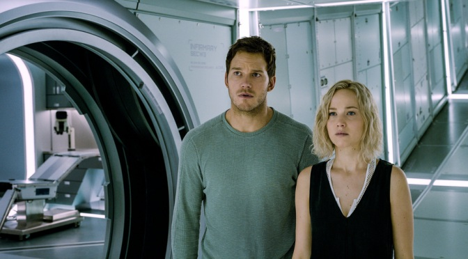 Chris Pratt and Jennifer Lawrence in Passengers (2016)